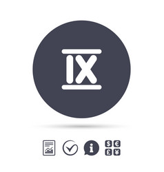 roman numeral nine icon roman number nine sign vector image