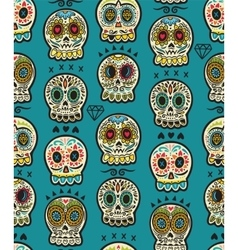 Seamless pattern with sugar skulls Mexican Day of vector image vector image