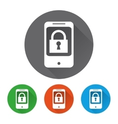 Security icons set with phone vector image