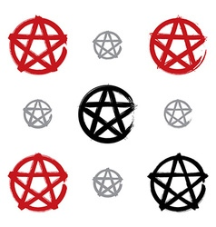 Set of hand-drawn pentagram icons scanned and vector image