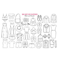 Sketch monochrome clothes icons set vector