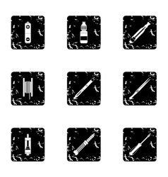 Tobacco icons set grunge style vector