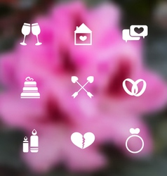 trendy flat icons for Valentines Day blurred vector image vector image