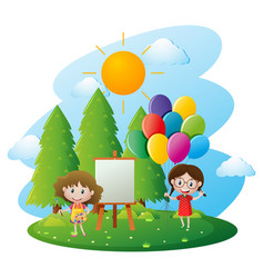 Two girls painting on canvas in garden vector