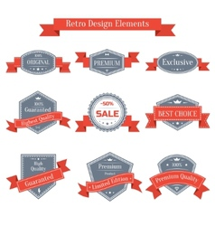 vintage set of labels with ribbons vector image vector image