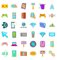 Web mobile icons set cartoon style vector