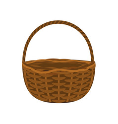 wicker basket on a white background vector image vector image