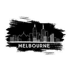 Melbourne Skyline Silhouette Hand Drawn Sketch vector image