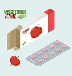 Tomatoes vitamins Vegetarian pills Diet tablets in vector image