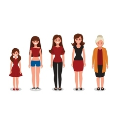 Female various ages cartoon vector image
