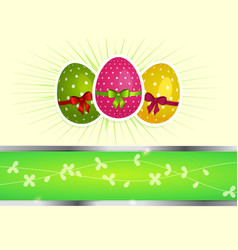Easter background with eggs and copy space vector