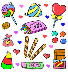doodle candy various colorful style vector image