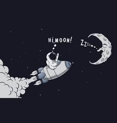 Adventure of little cute spaceman in space vector