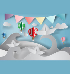 Paper art of origami made sailing boat with vector