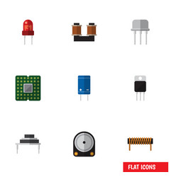 Flat icon appliance set of transistor bobbin hdd vector
