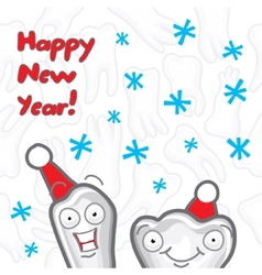 Teeth happy new year greeting card vector
