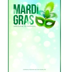 Light green mardi gras poster template with bokeh vector