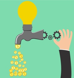 Faucet idea process to be money vector