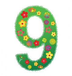 Floral number 9 vector