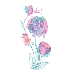 Enchanted flowers vignette in pink and mint colors vector