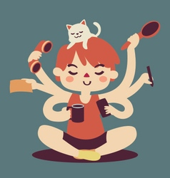 Cartoon girl multitasking vector