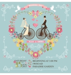 Wedding invitationbridegroom on retro bike vector