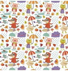 Joyful autumn pattern white vector