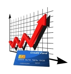 Bank credit card with rising graph vector