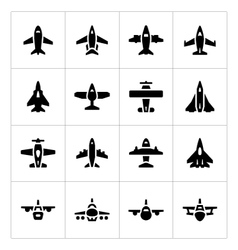 Set icons of planes vector