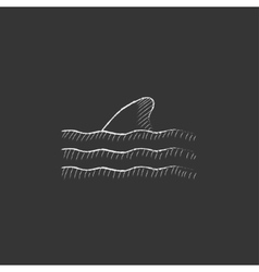 Dorsal shark fin above water drawn in chalk icon vector
