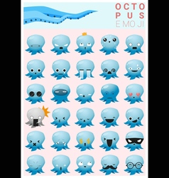 Octopus emoji icons vector image