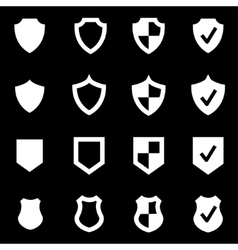 White shield icon set vector