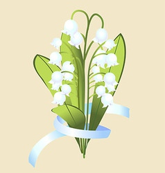 A bouquet of flowers of Lily with ribbon vector image