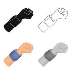 Arm with bandagebasketball single icon in cartoon vector