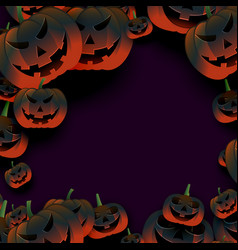 Breepy halloween pumpkin frame on dark background vector