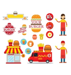 Burger Shop Graphic Elements vector image vector image