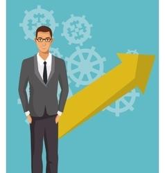 Business man work employee gear arrow vector