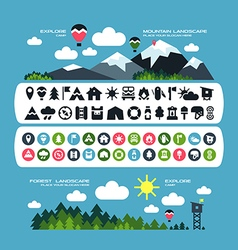 Camping icons and landscape banners vector