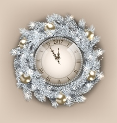 Christmas wreath with clock and golden balls for vector