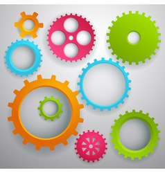 Connected realistic dimensional gear cogs silhouet vector image vector image