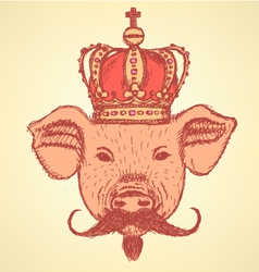 Crown Pig Mustache vector image vector image