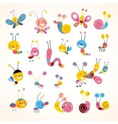 cute butterflies beetles snails set vector image