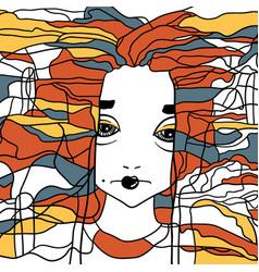 Decorative portrait of a woman creative artwork vector
