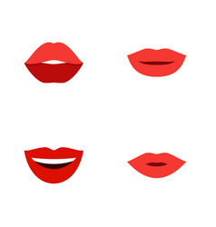 Flat icon lips set of lipstick pomade smile and vector