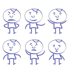 funny men set sketch cartoon vector image