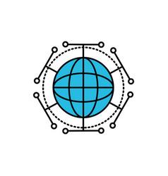 global digital technology data connection vector image