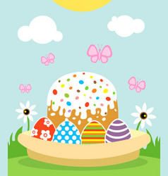 Happy easter background card with cake and eggs vector