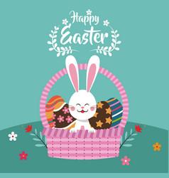 happy easter bunny in basket egg vector image