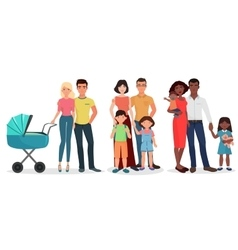 International happy young family detailed couples vector