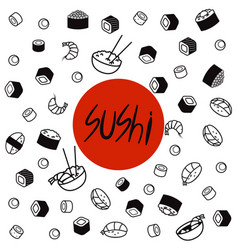 japan food menu restaurant asian food poster top vector image vector image